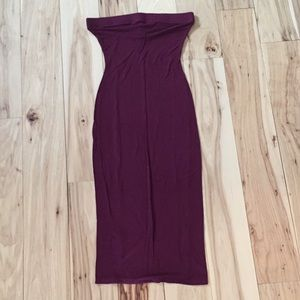 Black Bead burgundy tube top dress, S